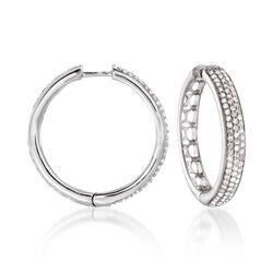 "1.00 ct. t.w. Diamond Hoop Earrings in Sterling Silver. 1"", , default"