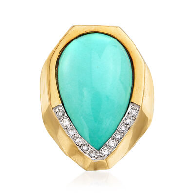 C. 1980 Vintage Reconstituted Turquoise and Diamond Ring in 18kt Yellow Gold, , default