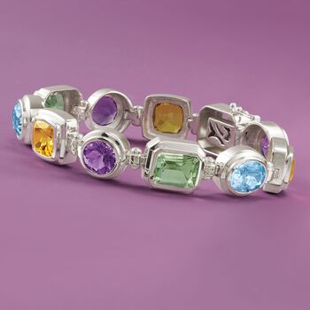 "28.85 ct. t.w. Multi-Stone Bracelet in Sterling Silver. 7.5"", , default"