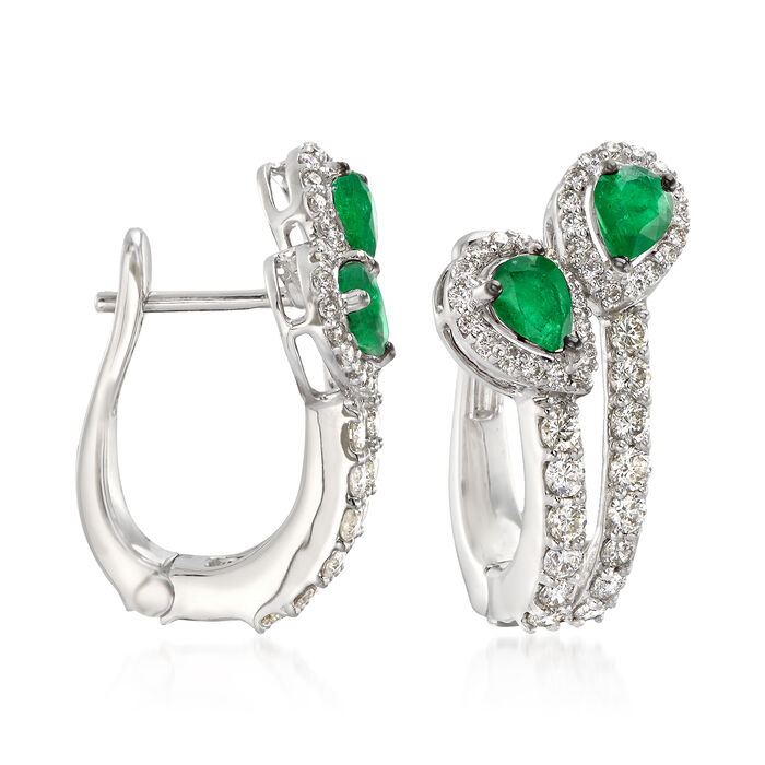 1.10 ct. t.w. Emerald and 1.04 ct. t.w. Diamond Drop Earrings in 18kt White Gold, , default