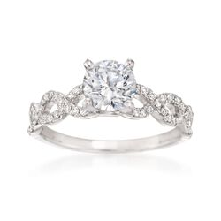 .21 ct. t.w. Diamond Crisscross Engagement Ring Setting in 14kt White Gold, , default
