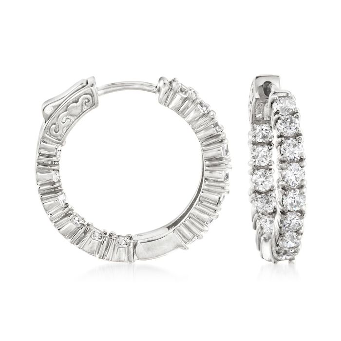 "3.00 ct. t.w. CZ Inside-Outside Hoop Earrings in Sterling Silver. 7/8"", , default"