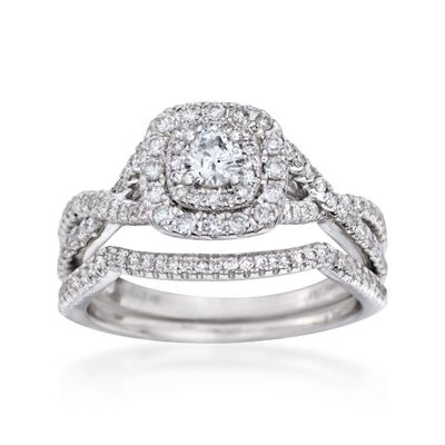 .75 ct. t.w. Diamond Bridal Set: Engagement and Wedding Rings in 14kt White Gold, , default