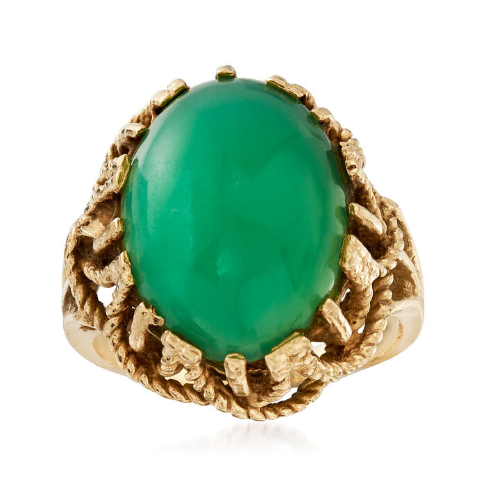 C. 1960 Vintage 17x13mm Green Chalcedony Ring in 10kt Yellow Gold. Size 6, , default