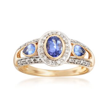 .60 ct. t.w. Tanzanite and .14 ct. t.w. Diamond Ring in 14kt Yellow Gold, , default
