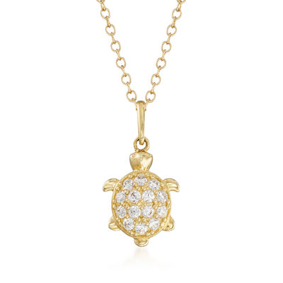 .20 ct. t.w. CZ Turtle Pendant Necklace in 14kt Yellow Gold, , default