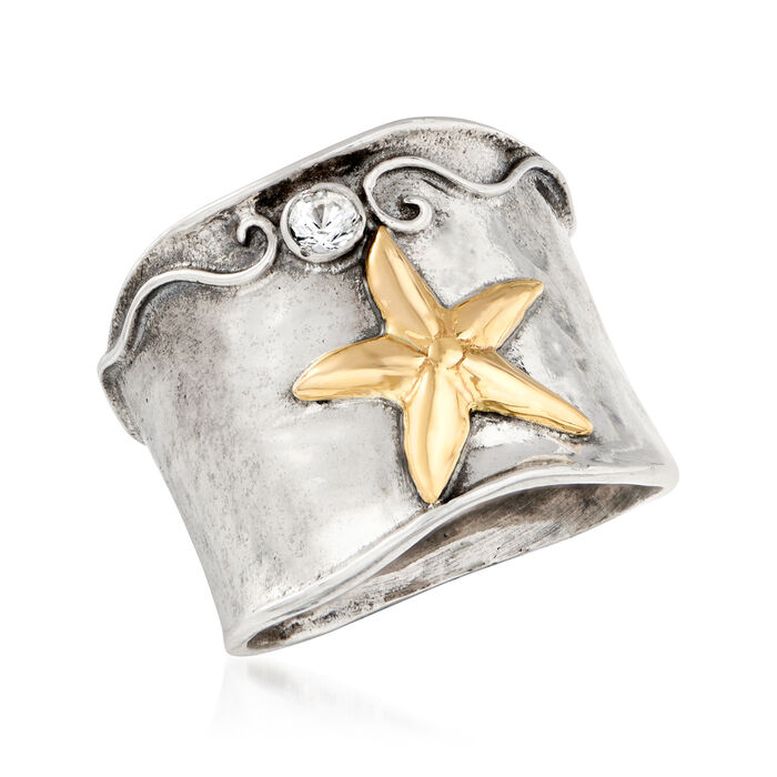.50 Carat White Topaz Starfish Ring in Sterling Silver with 14kt Yellow Gold