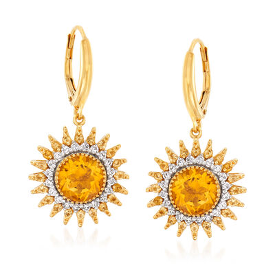 3.90 ct. t.w. Citrine and .50 ct. t.w. Diamond Sun Drop Earrings in 18kt Gold Over Sterling, , default