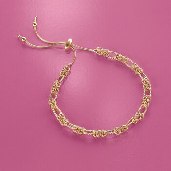 14kt Yellow Gold Byzantine Station Bolo Bracelet , , default