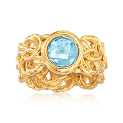 Italian Andiamo 14kt Yellow Gold and 2.30 Carat Sky Blue Topaz Byzantine Ring, , default