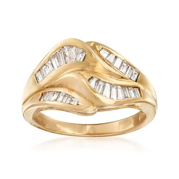 C. 1990 Vintage 1.00 ct. t.w. Baguette Diamond Wave Ring in 18kt Yellow Gold. Size 6, , default