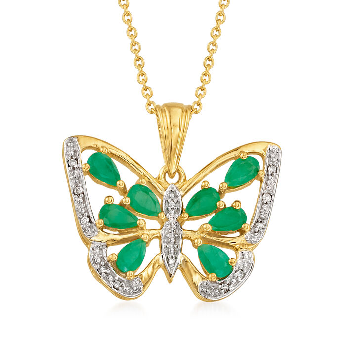 1.75 ct. t.w. Emerald Butterfly Pendant Necklace in 18kt Gold Over Sterling