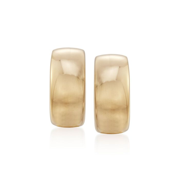 "Roberto Coin 18kt Yellow Gold Small Puffed Half-Hoop Earrings. 1/2"", , default"