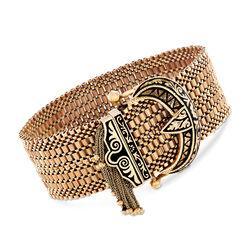 C. 1950 Vintage 14kt Yellow Gold Tassel Buckle Bracelet With Black Enamel, , default