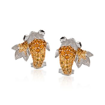 1.20 ct. t.w. Citrine and .15 ct. t.w. Garnet Koi Earrings With Diamonds in Sterling Silver, , default