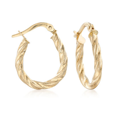 14kt Yellow Gold Twisted Hoop Earrings , , default