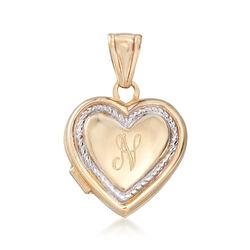 Italian 14kt Yellow Gold Single Initial Heart Locket Pendant , , default