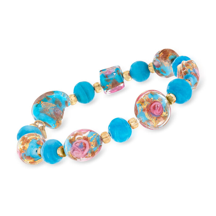 Italian Multicolored Murano Glass Bead Stretch Bracelet in 18kt Yellow Gold Over Sterling Silver, , default