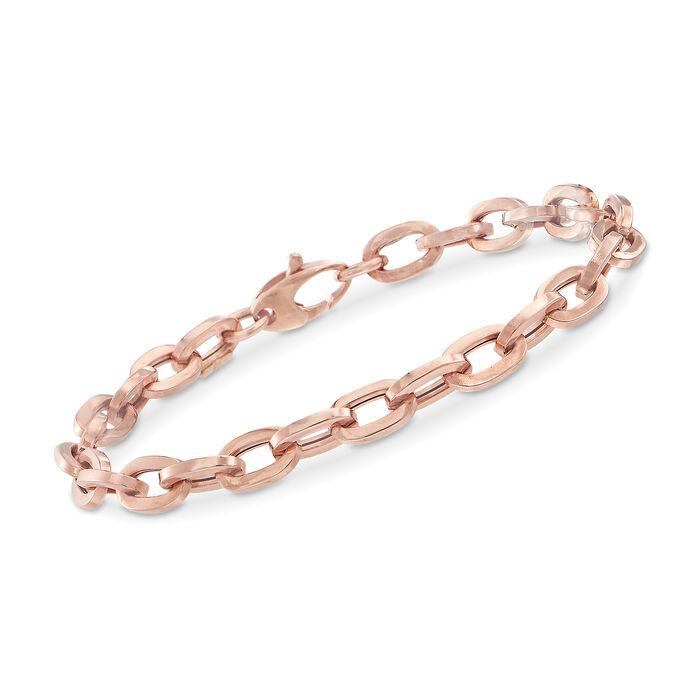 Italian 18kt Rose Gold Oval-Link Bracelet, , default