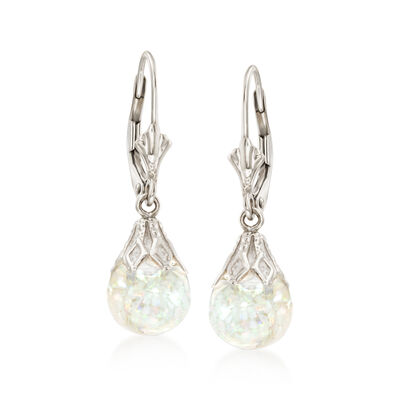 Floating Opal Drop Earrings in 14kt White Gold