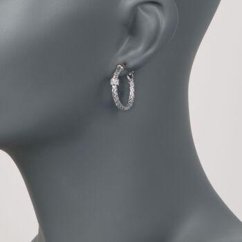 "Charles Garnier ""Torino"" .20 ct. t.w. CZ Small Hoop Earrings in Sterling Silver. 1"", , default"