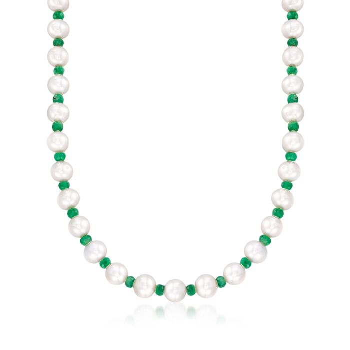 13.00 ct. t.w. Emerald and 8-8.5mm Cultured Pearl Necklace with 14kt Yellow Gold