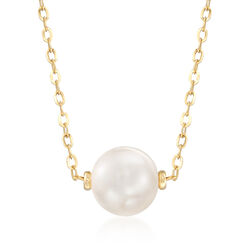 9.5-10mm Cultured Pearl Necklace in 14kt Yellow Gold, , default