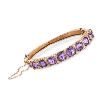 """C. 1970 Vintage 9.20 ct. t.w. Amethyst and .40 ct. t.w. Diamond Bangle Bracelet in 14kt Yellow Gold. 6.5"""", , default"""