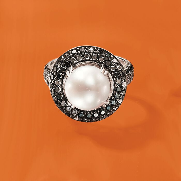 9mm Cultured Pearl and 1.20 ct. t.w. Black Spinel Ring in Sterling Silver