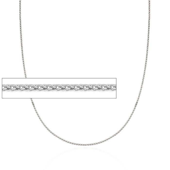"1.2mm 14kt White Gold Wheat Chain Necklace. 18"", , default"