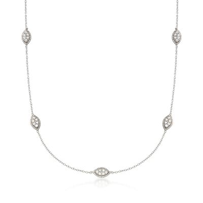 1.00 ct. t.w. Diamond Marquise Cluster Station Necklace in 14kt White Gold, , default