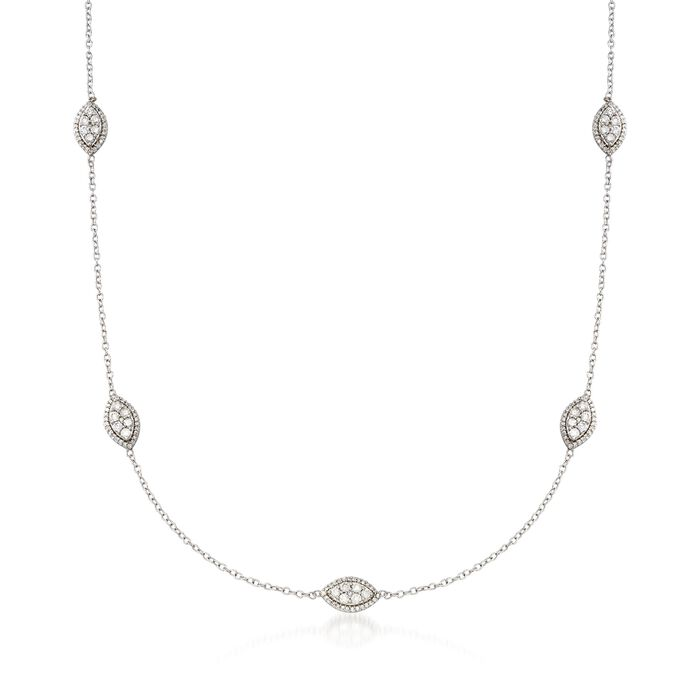 1.00 ct. t.w. Diamond Marquise Cluster Station Necklace in 14kt White Gold