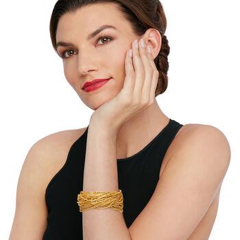 Italian Golden Murano Glass Bead Torsade Bracelet with 18kt Gold Over Sterling, , default