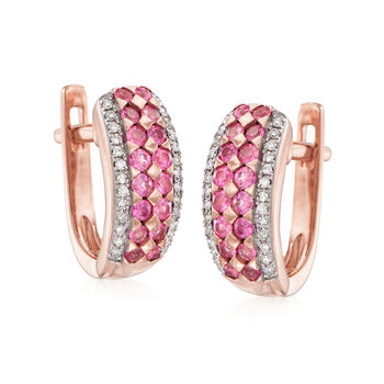 .50 ct. t.w. Pink Sapphire Huggie Hoop Earrings with .12 ct. t.w. Diamonds in 14kt Rose Gold