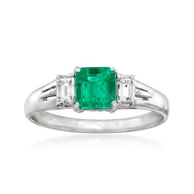C. 1990 Vintage .61 Carat Emerald and .25 ct. t.w. Diamond Ring in Platinum