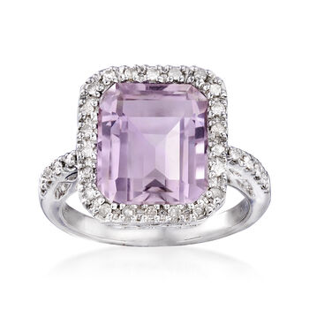 5.75 Carat Pink Amethyst and .25 ct. t.w. Diamond Ring in Sterling Silver, , default
