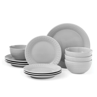 "Kate Spade New York ""Willow Drive"" 12-pc. Grey Ceramic Dinnerware Set, , default"