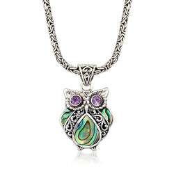 Black Abalone Shell and .40 ct. t.w. Amethyst Owl Pendant Necklace With Sterling Silver Byzantine Chain, , default