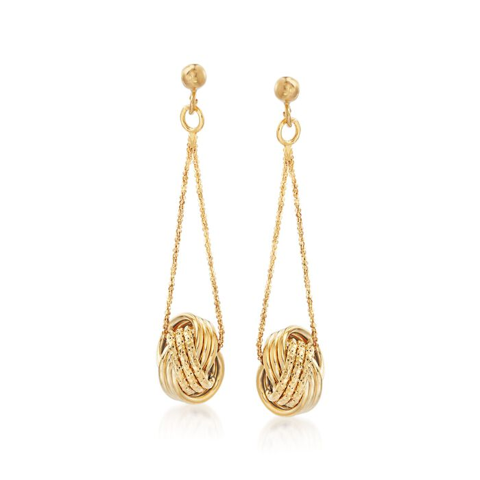 Italian 18kt Yellow Gold Textured and Polished Love Knot Drop Earrings, , default