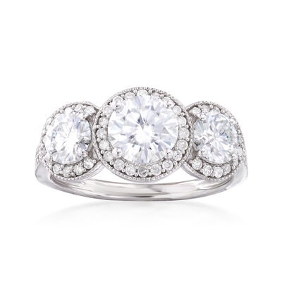 1.90 ct. t.w. Synthetic Moissanite Three-Stone Engagement Ring with .28 ct. t.w. Diamonds in 14kt White Gold, , default