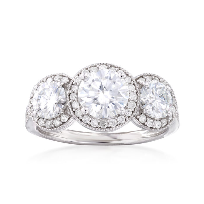 1.90 ct. t.w. Synthetic Moissanite Three-Stone Engagement Ring with .28 ct. t.w. Diamonds in 14kt White Gold