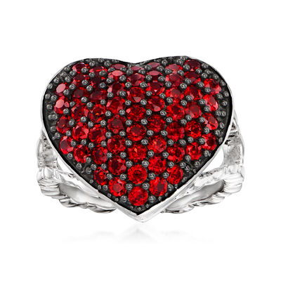 1.95 ct. t.w. Garnet Heart Cluster Ring in Sterling Silver