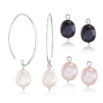 10x8mm Multicolored Cultured Pearl Interchangeable Drop Earrings in Sterling Silver