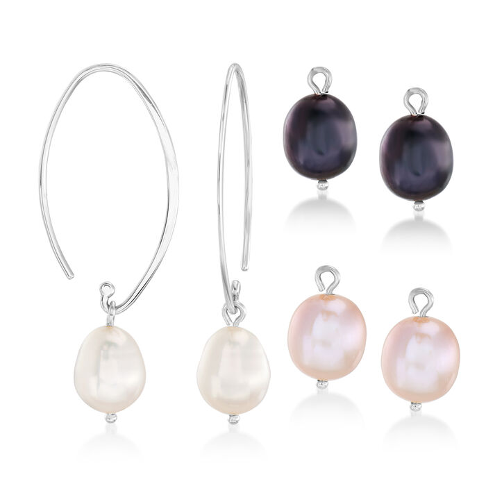 10x8mm Multicolored Cultured Pearl Interchangeable Drop Earrings in Sterling Silver
