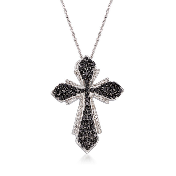 """1.00 ct. t.w. Black and White Diamond Cross Pendant Necklace in Sterling Silver. 18"""", , default"""