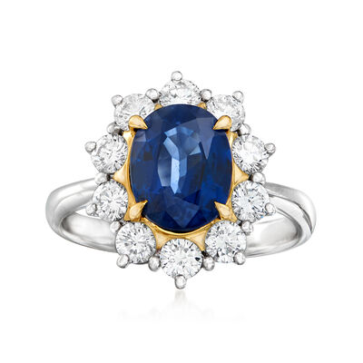 C. 1980 Vintage 2.51 Carat Sapphire and .94 ct. t.w. Diamond Ring in Platinum and 18kt Yellow Gold, , default
