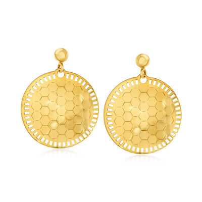 Italian 18kt Yellow Gold Honeycomb Drop Earrings