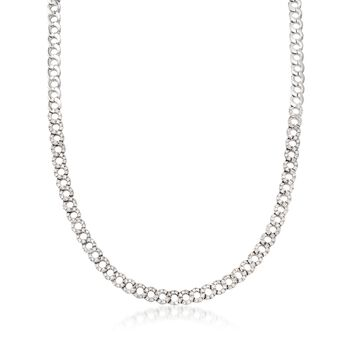 "C. 1990 Vintage 3.20 ct. t.w. Diamond Open Circle Link Necklace in 18kt White Gold. 15.5"", , default"
