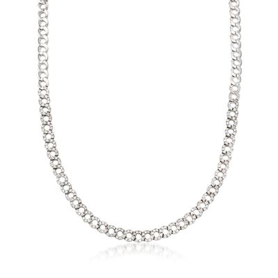 C. 1990 Vintage 3.20 ct. t.w. Diamond Open Circle-Link Necklace in 18kt White Gold, , default