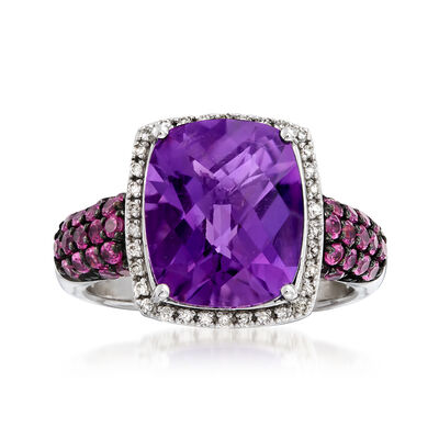 Italian 5.00 Carat Amethyst and .80 ct. t.w. Rhodolite Garnet Ring with .10 ct. t.w. Diamonds in Sterling Silver, , default
